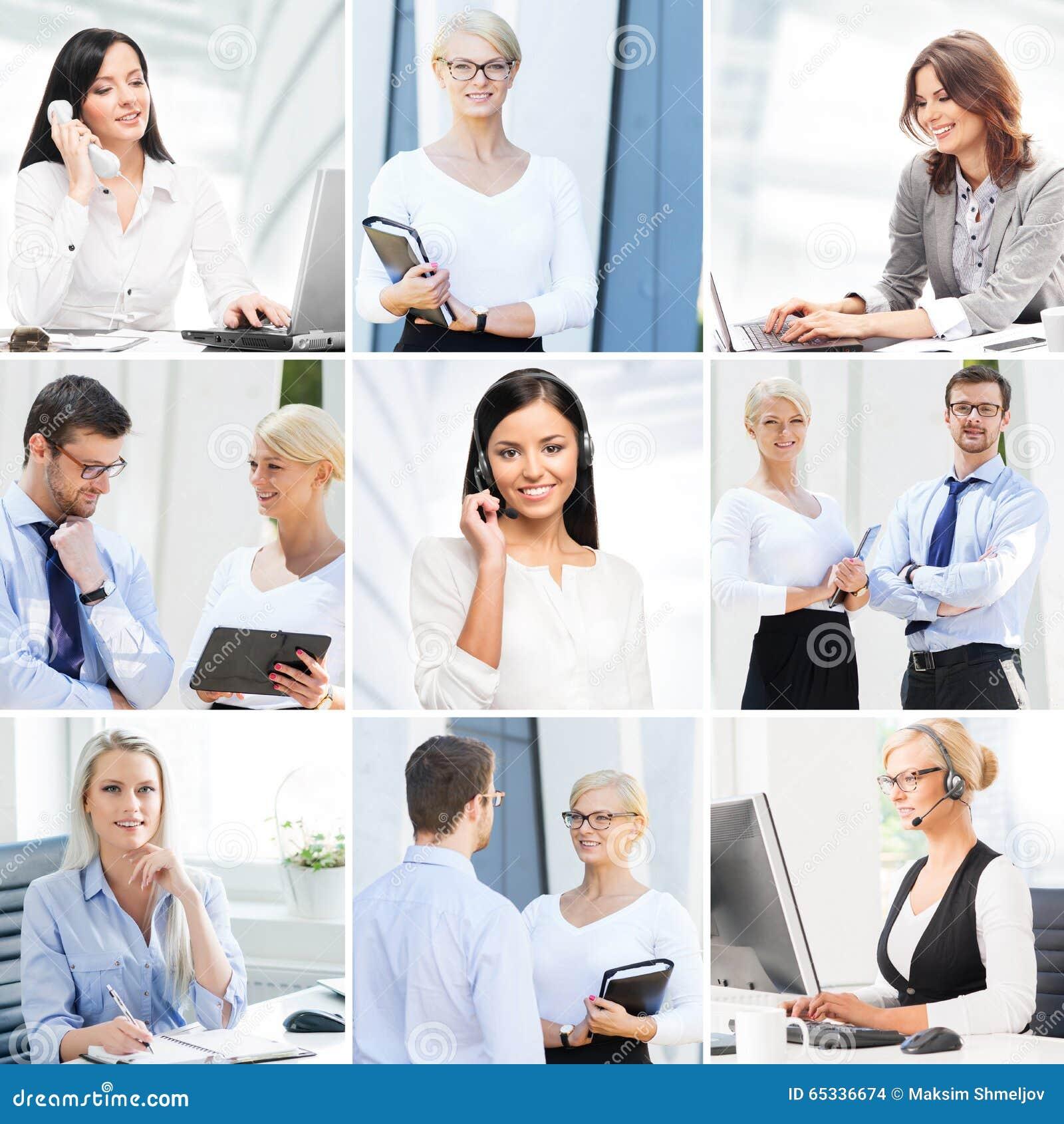 Collage d affaires Collection de photos au sujet de communication et d employés de bureau