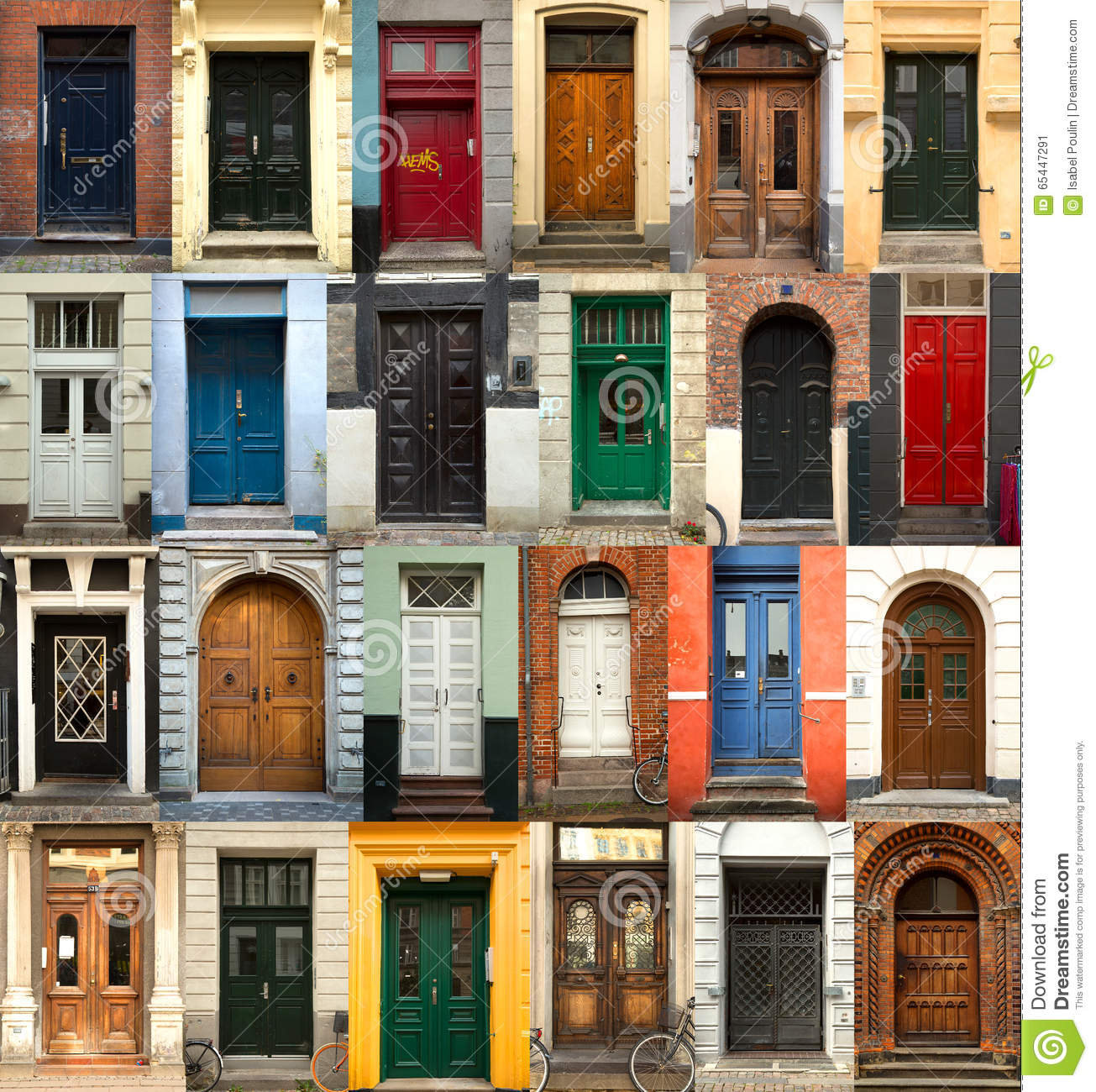 Collage Of Danish Doors Stock Image Image Of Frontage