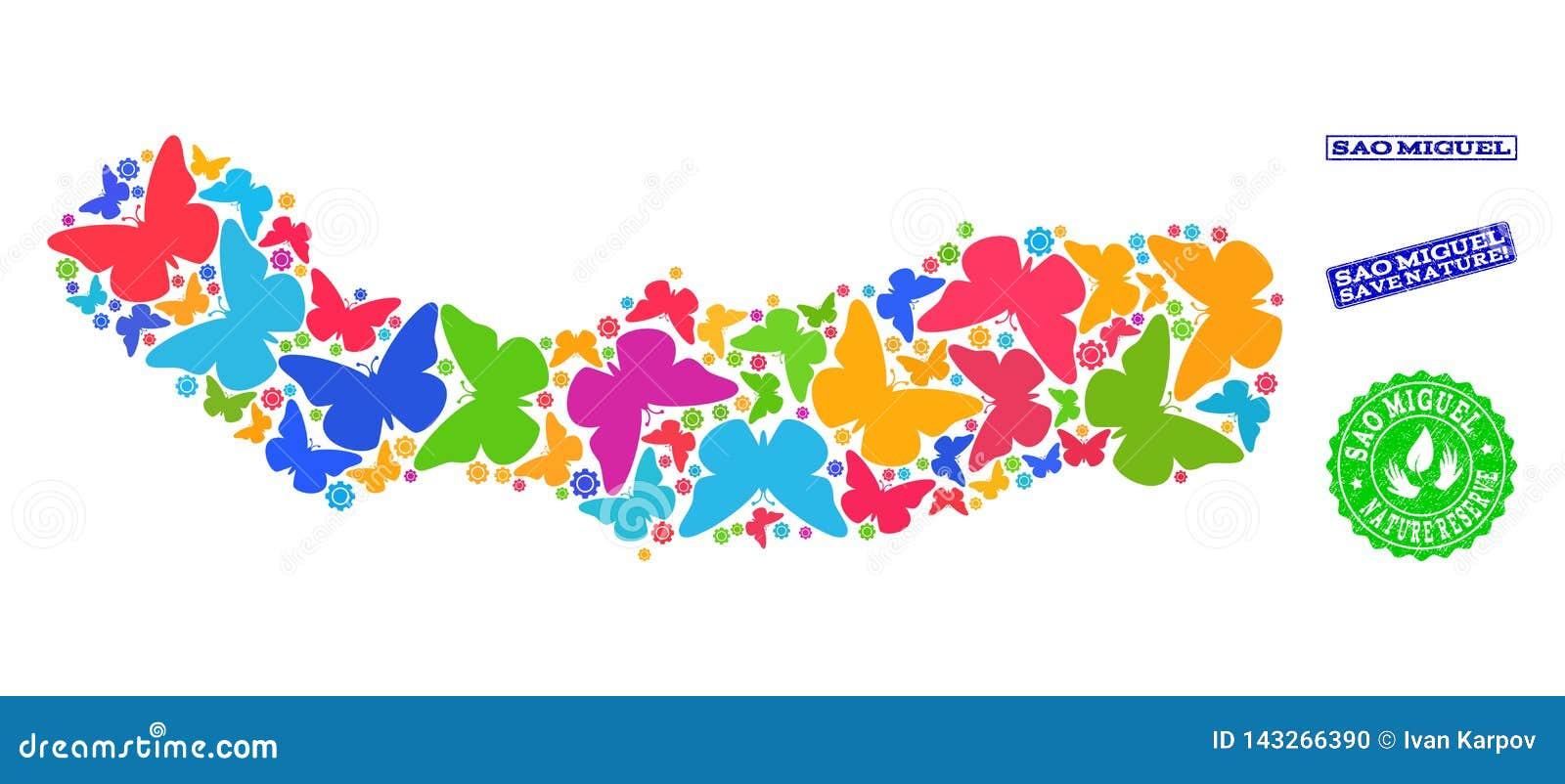 Collage de ahorro de la naturaleza del mapa del sao Miguel Island con las mariposas y los sellos texturizados
