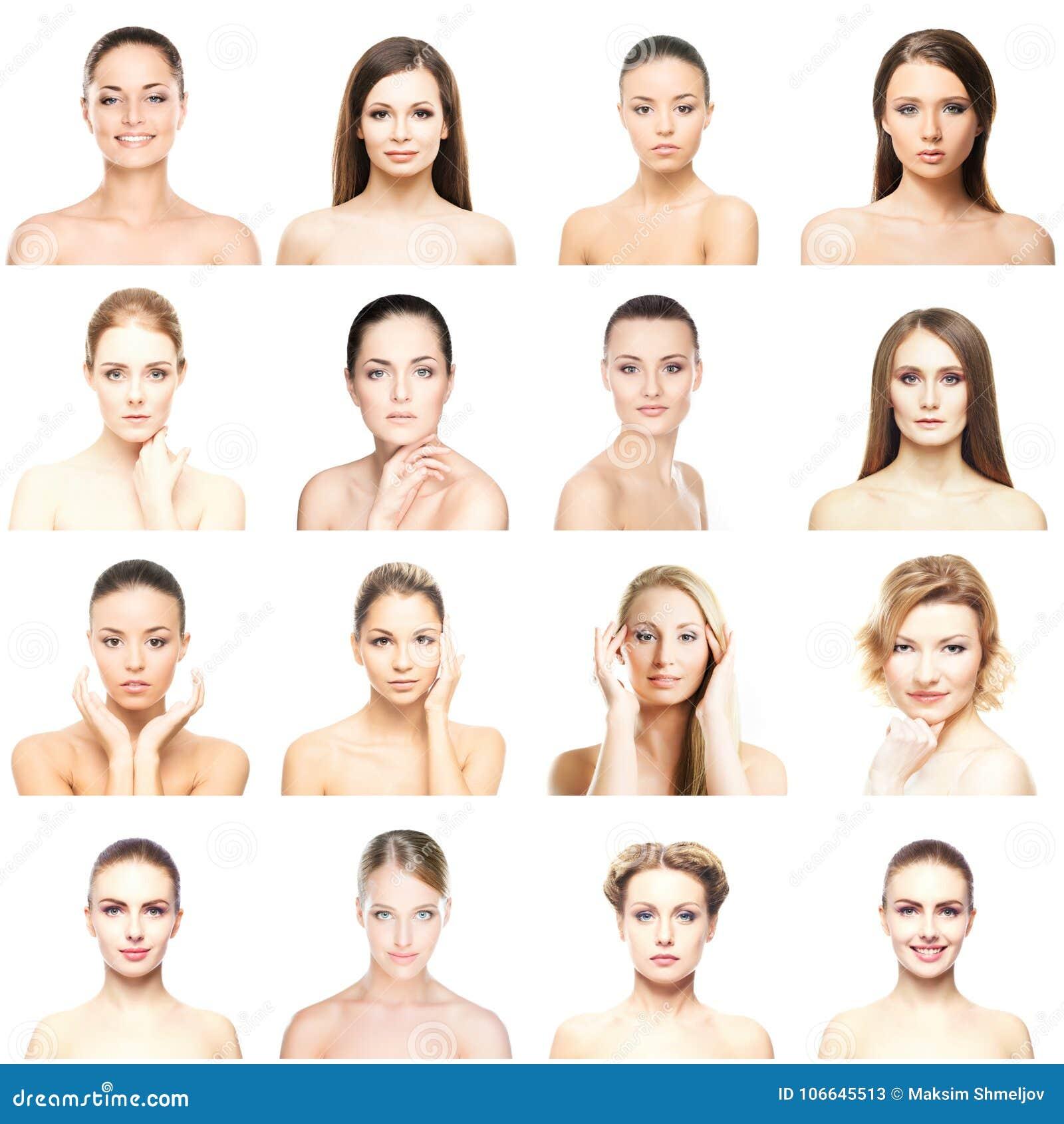 Collage de beaux, sains et jeunes portraits de station thermale Visages de différentes femmes Levage de visage, soins de la peau,