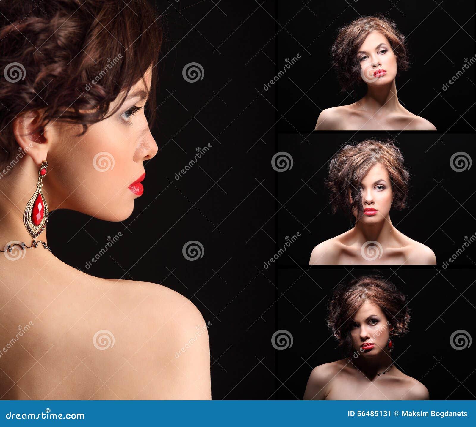 Collage de belle fille avec une cicatrice sur le visage et l épaule
