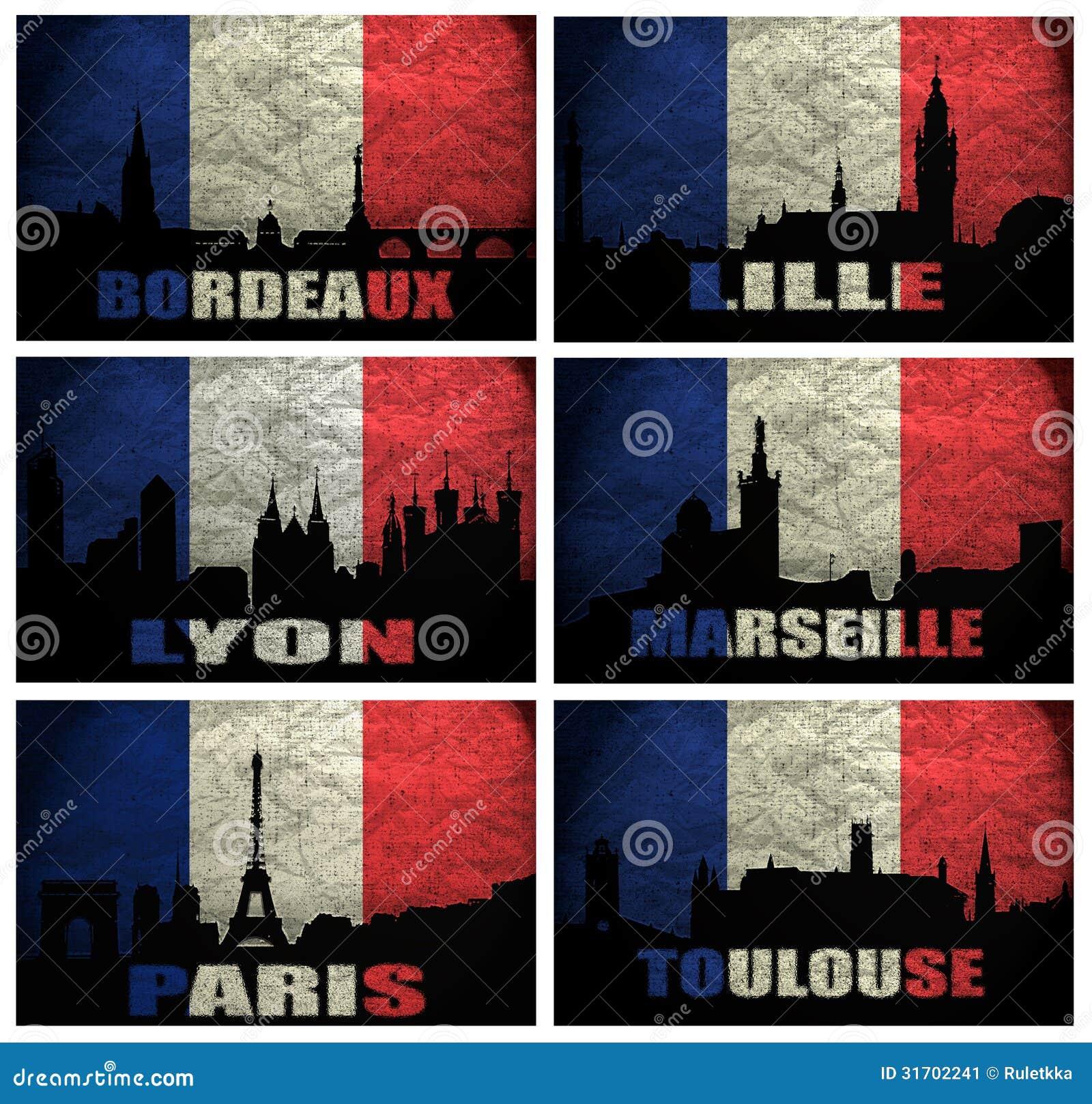 Collage de ciudades francesas famosas