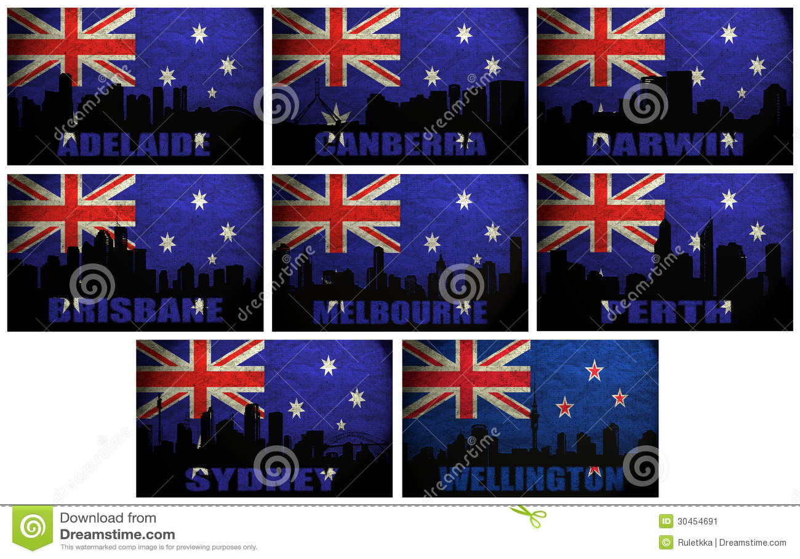 Collage de ciudades Oceanian famosas