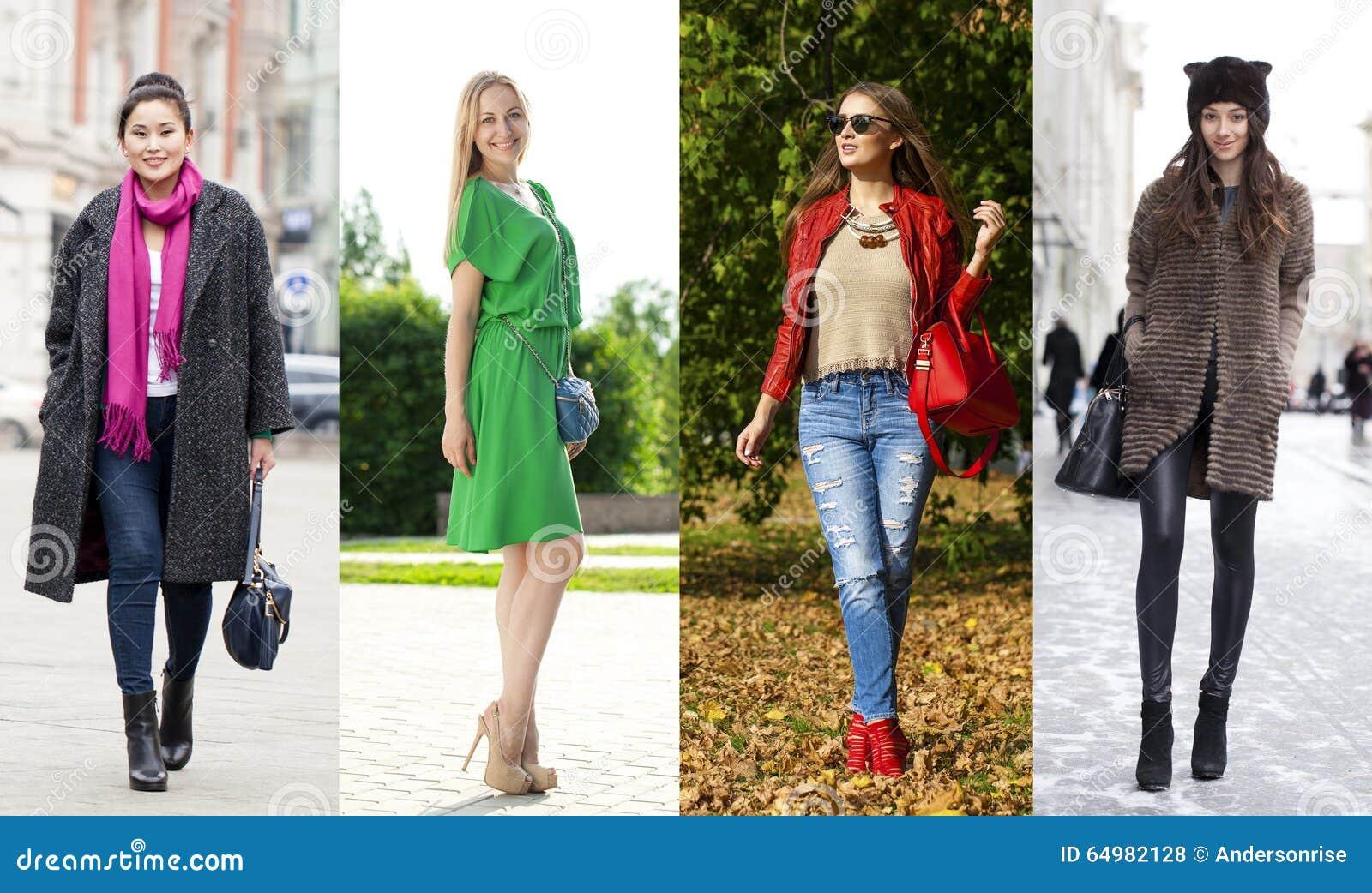 51fc627a4 Collage De Cuatro Diversos Modelos En La Ropa De Moda Para Foto de ...