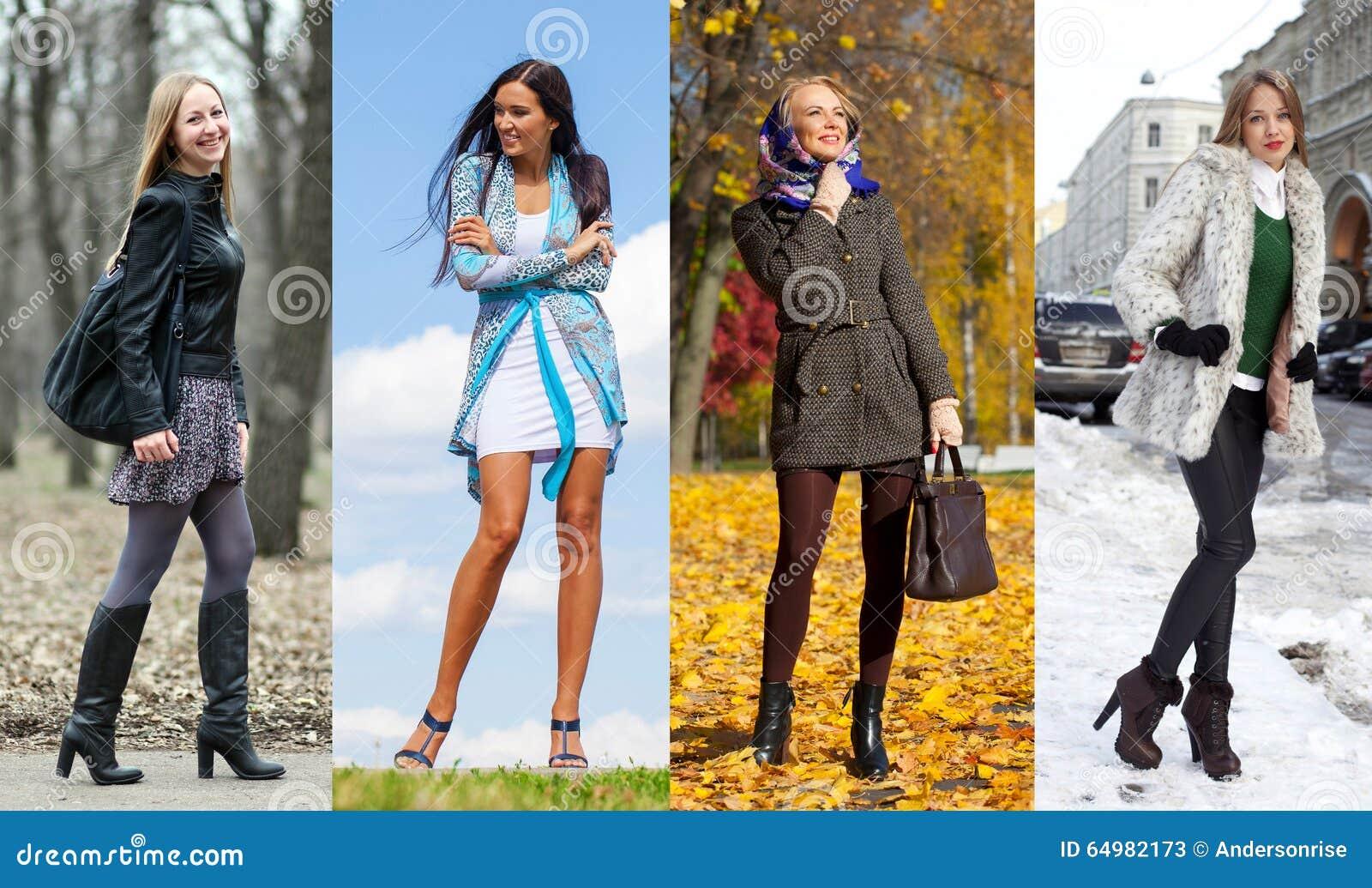 Collage De Cuatro Diversos Modelos En La Ropa De Moda Para
