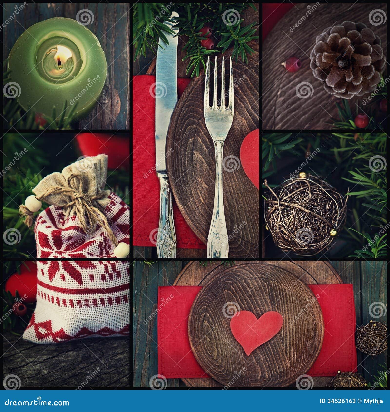 Collage de dîner de Noël