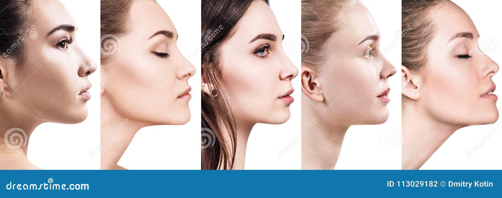Collage de diversas mujeres en la opinión del perfil
