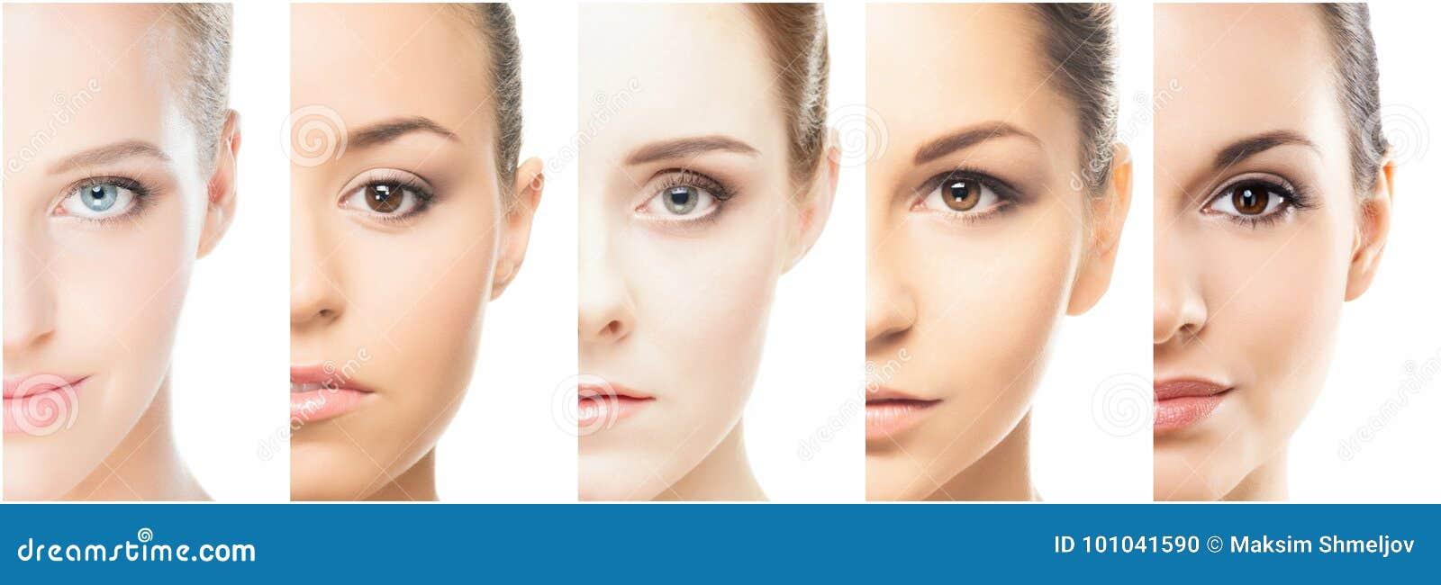 Collage de diversos retratos de mujeres jovenes en maquillaje