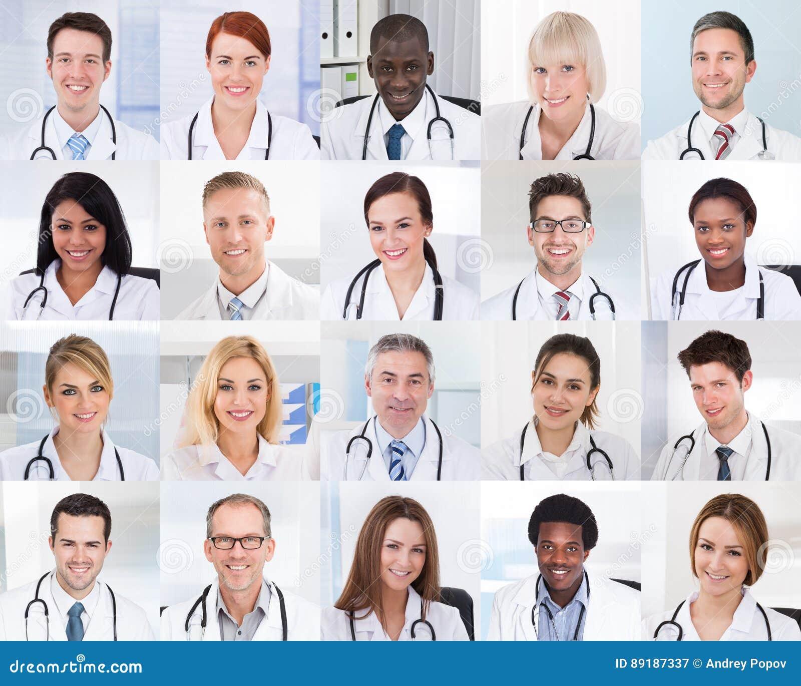 Collage de doctores sonrientes