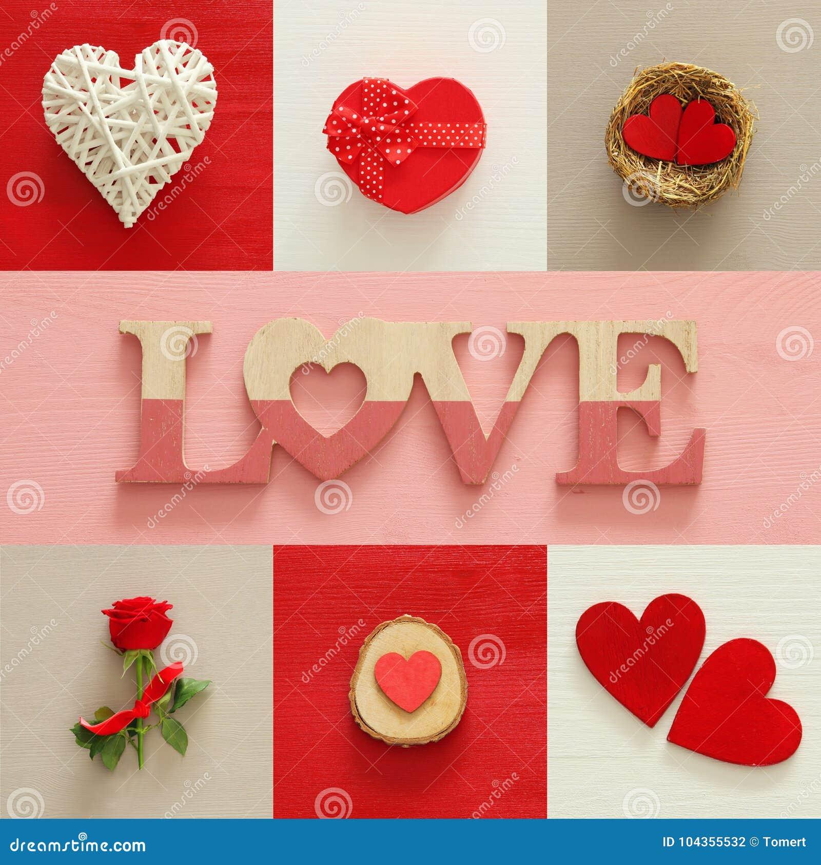 Collage de fond de jour de valentines Coeurs, boîte-cadeau, nid, rose de rouge et lettres d AMOUR