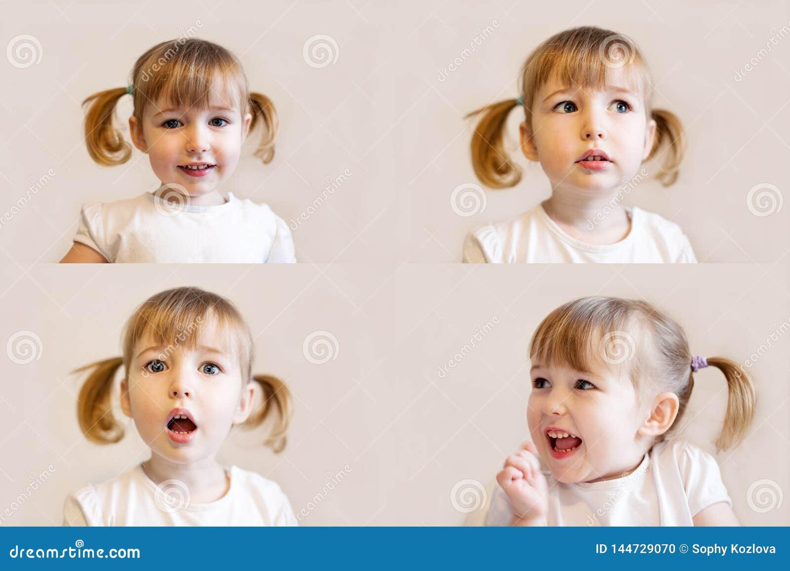 Collage de fotos con la muchacha astuta del niño con los retratos emocionales de la cara del primer del pelo de las coletas