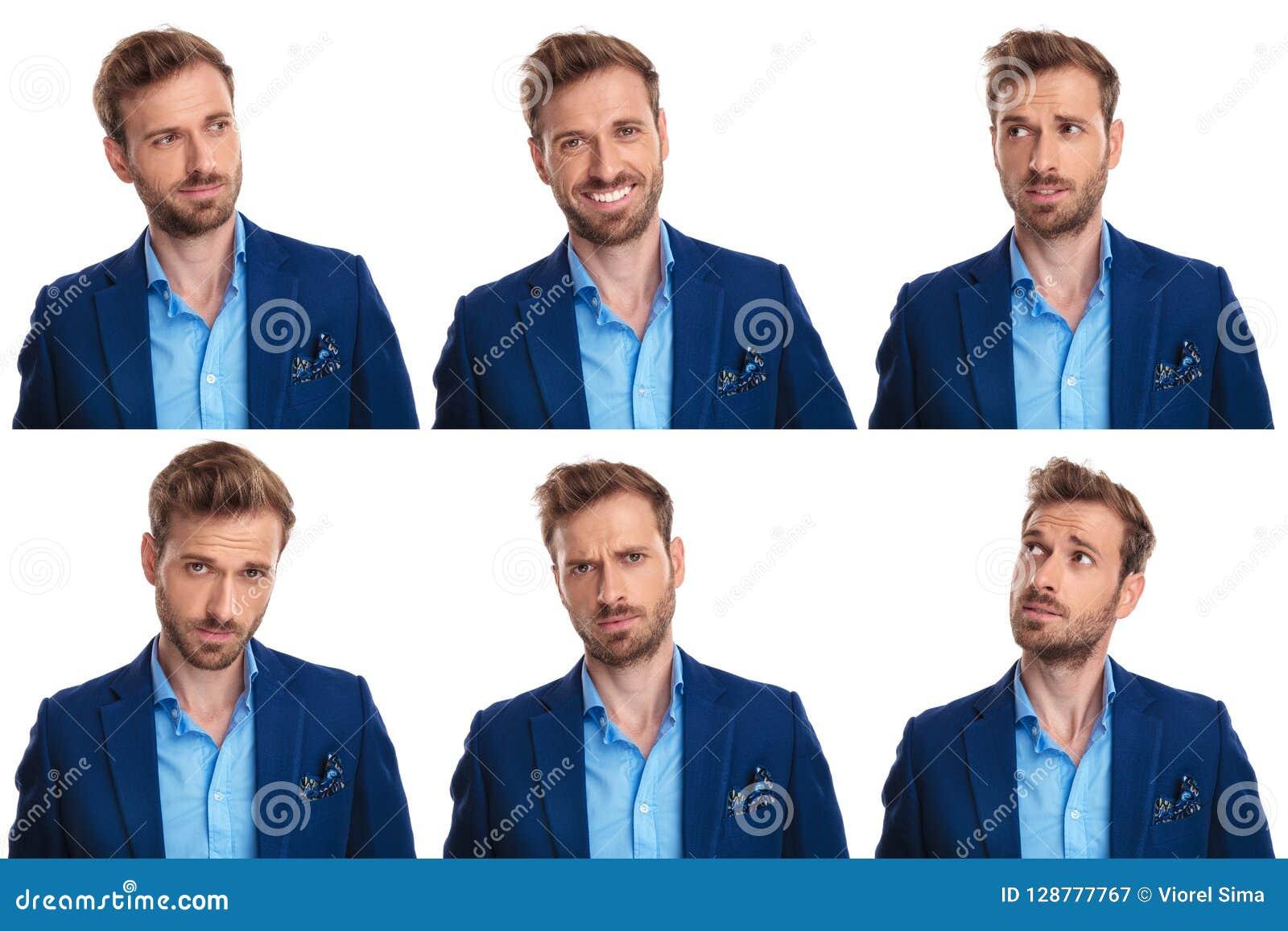 Collage de 6 images des visages du ` un s de jeune homme