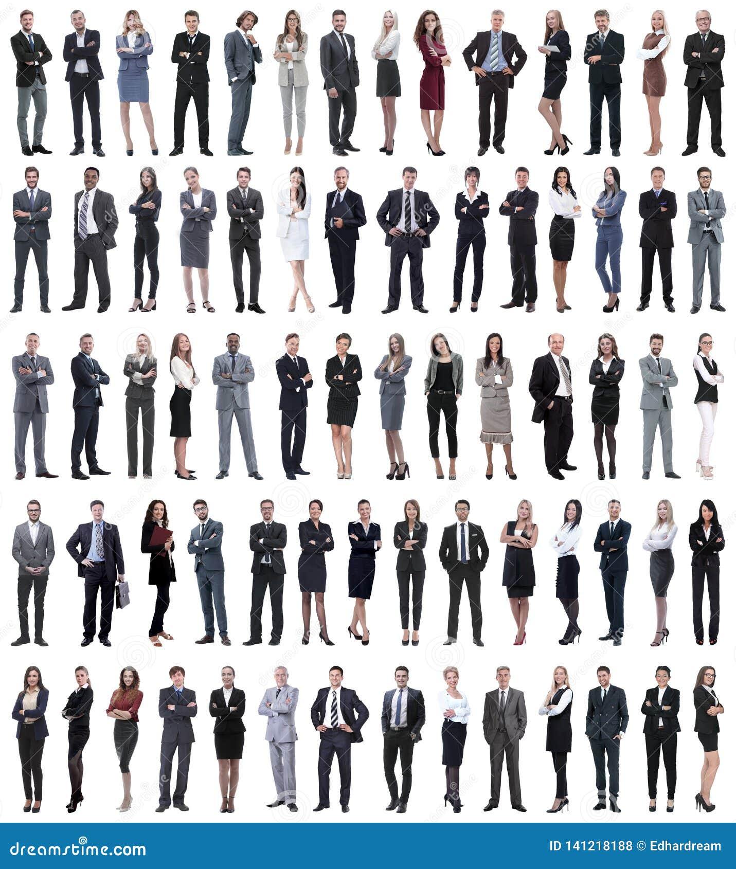 Collage de jeunes hommes d affaires se tenant dans une rangée