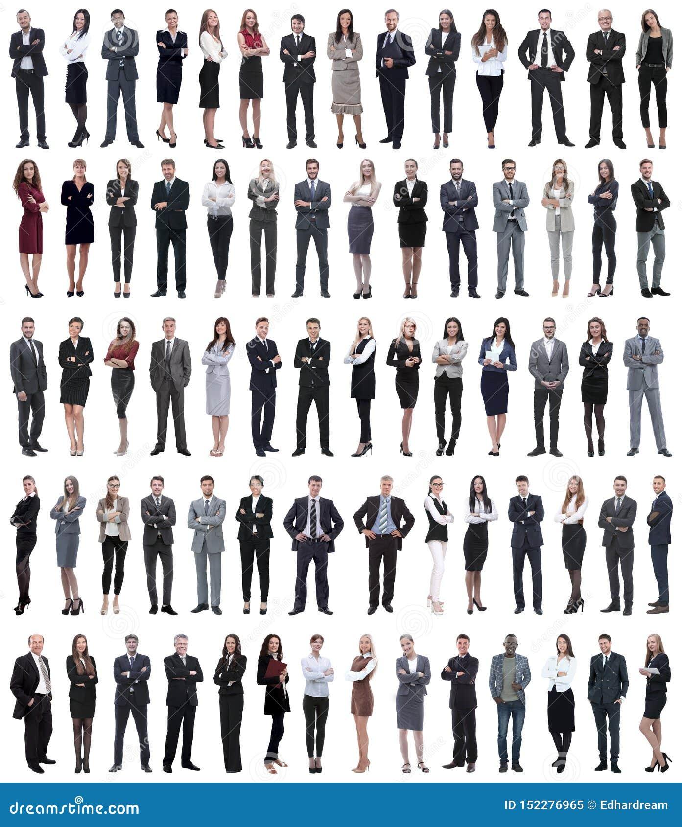 Collage de jeunes hommes d affaires se tenant dans une rang?e