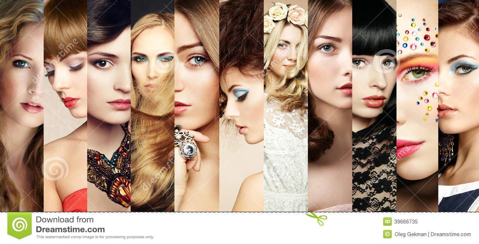 Collage de la belleza. Caras de mujeres