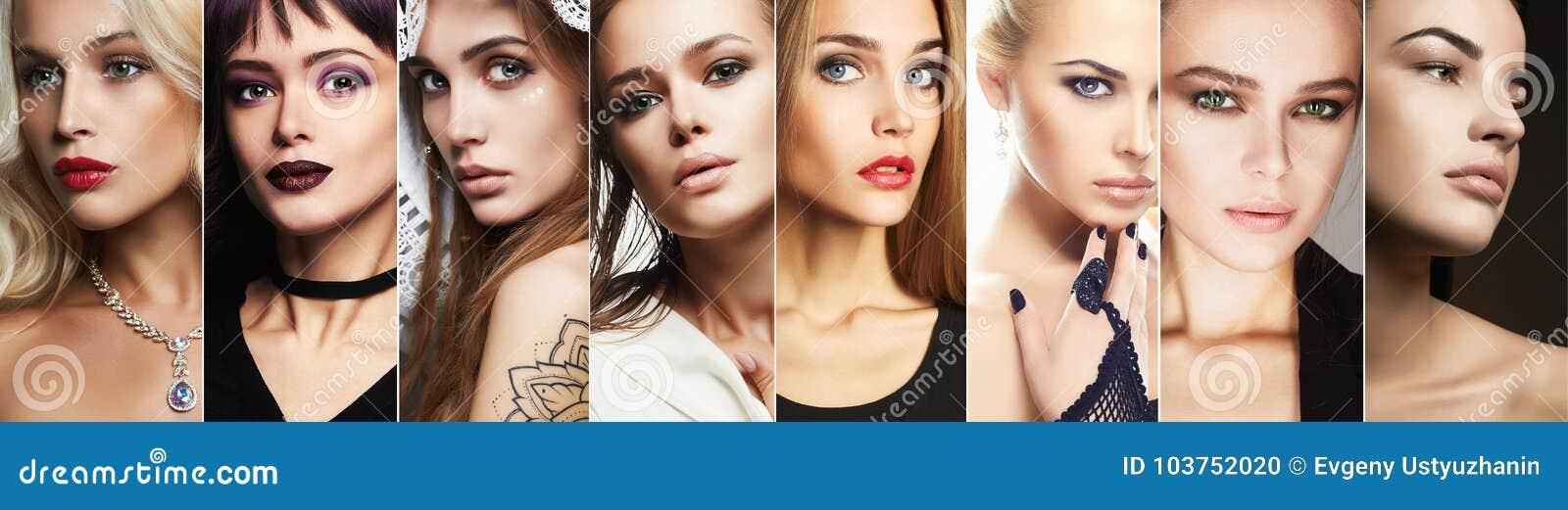 Collage de la belleza Caras de mujeres
