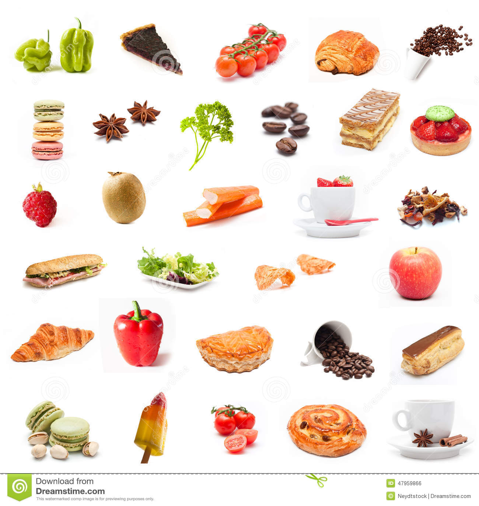 Collage de la comida de los ingredientes foto de archivo for Ingredientes para comida