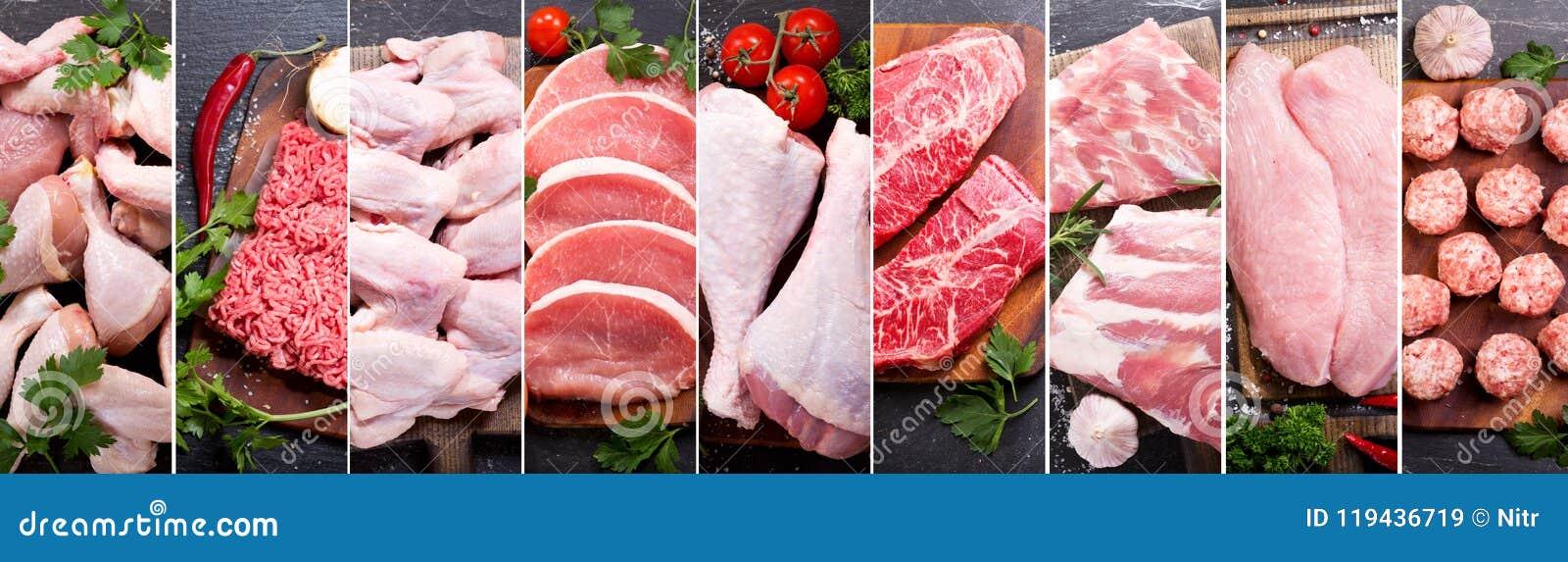 Collage de la comida de la diversos carne fresca y pollo