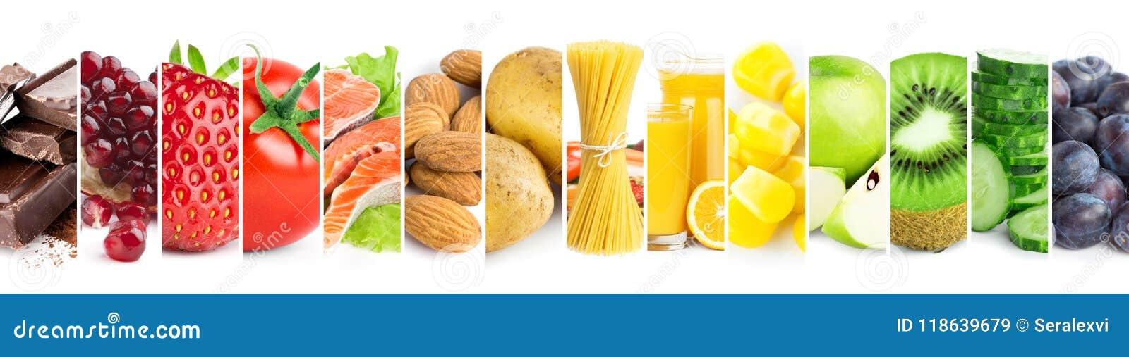Collage de la comida madura del color fresco mezclado