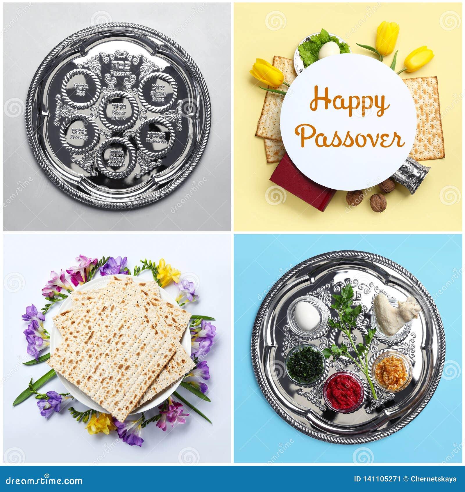 Collage de la comida y del dishware simbólicos de Pesach en el fondo del color, visión superior