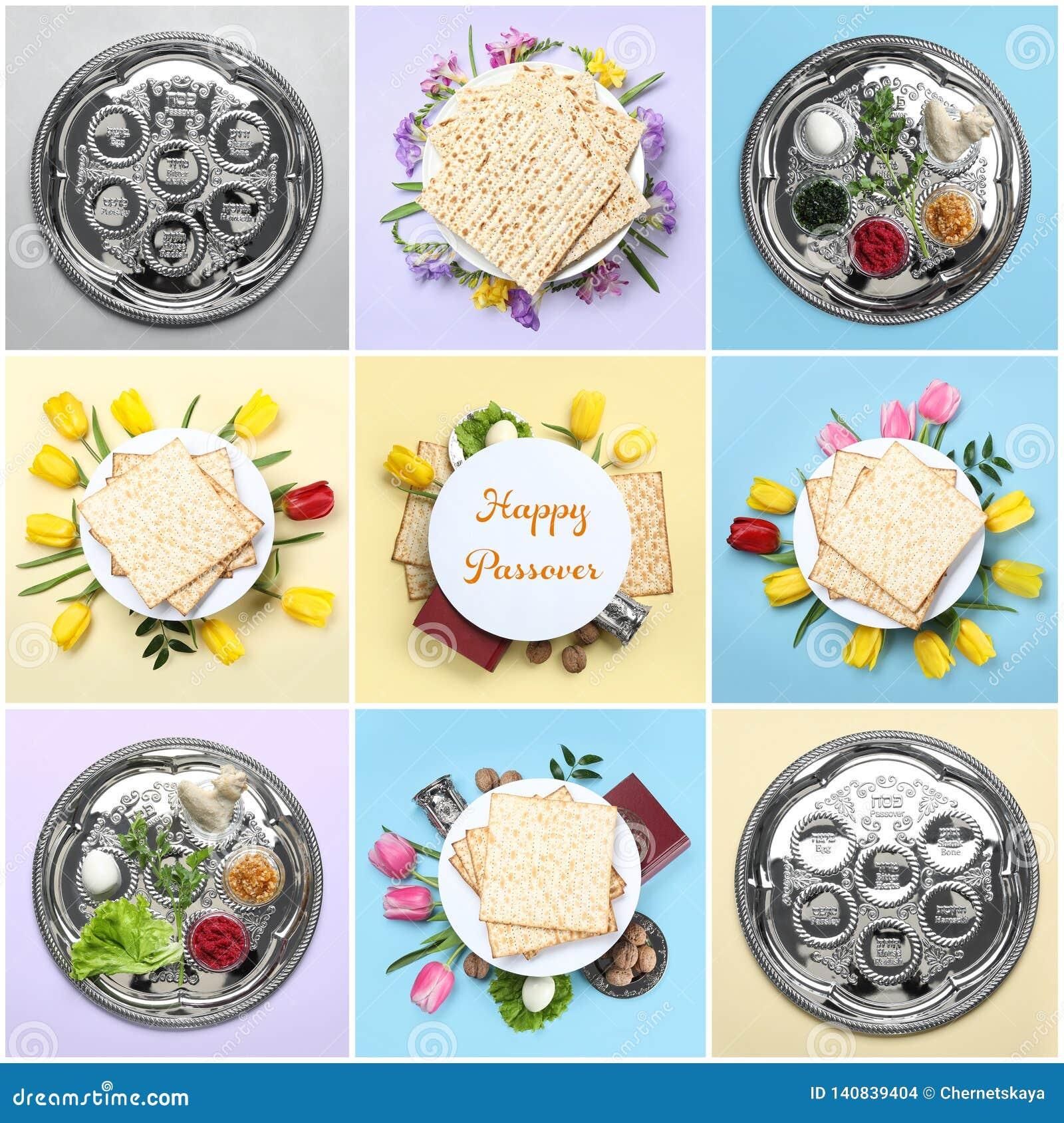 Collage de la comida y del dishware simbólicos de Pesach de la pascua judía en fondo del color