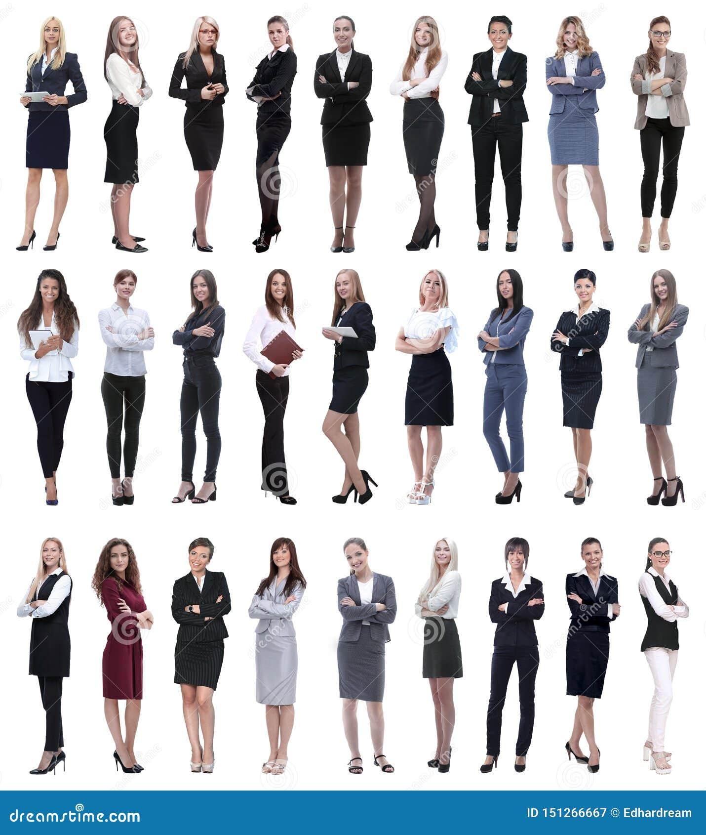 Collage de la empresaria moderna acertada Aislado en blanco