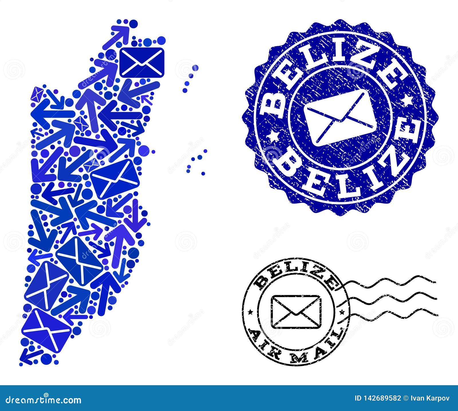 Collage de la entrega del poste del mapa de mosaico de Belice y de sellos texturizados