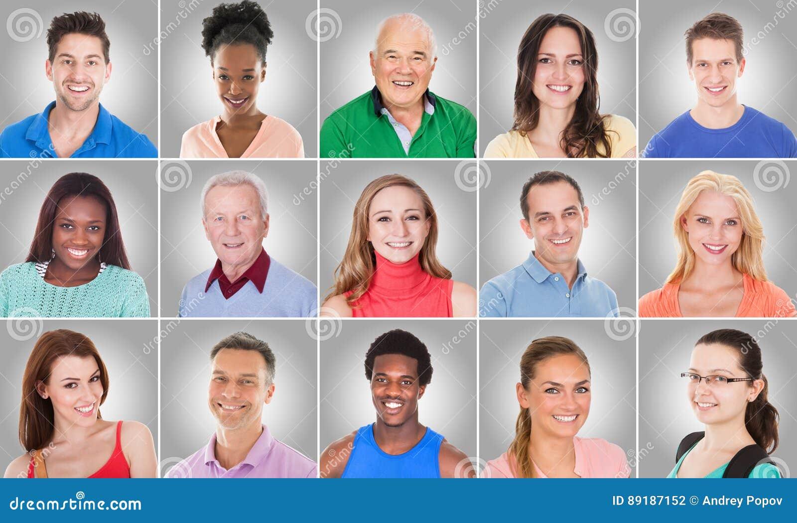 Collage de la gente sonriente
