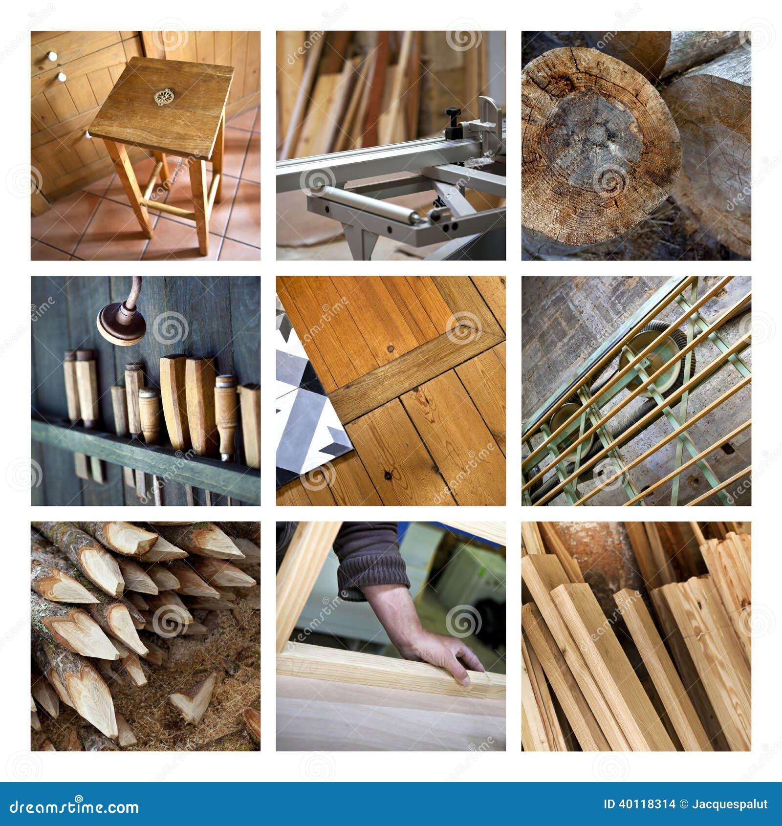 Collage de la madera y de la carpinter a foto de archivo - Carpinterias de madera en madrid ...
