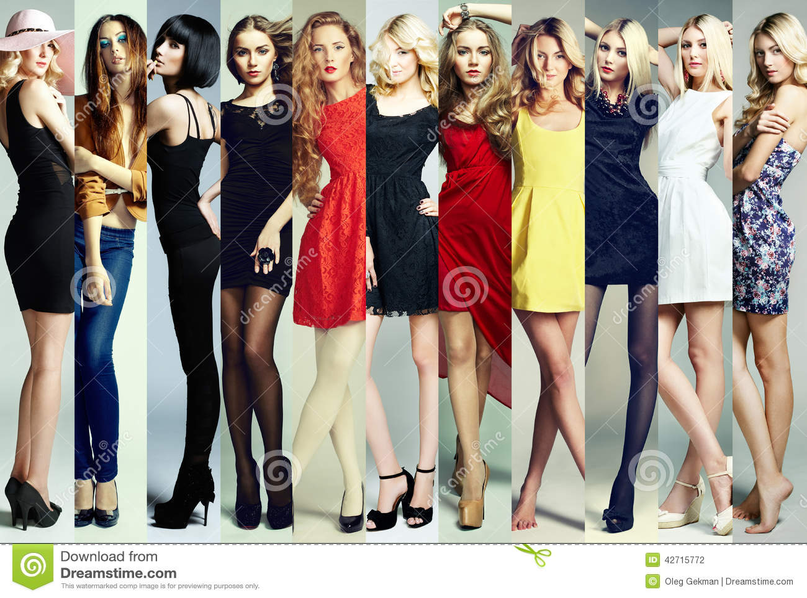 Collage de la moda Grupo de mujeres jovenes hermosas