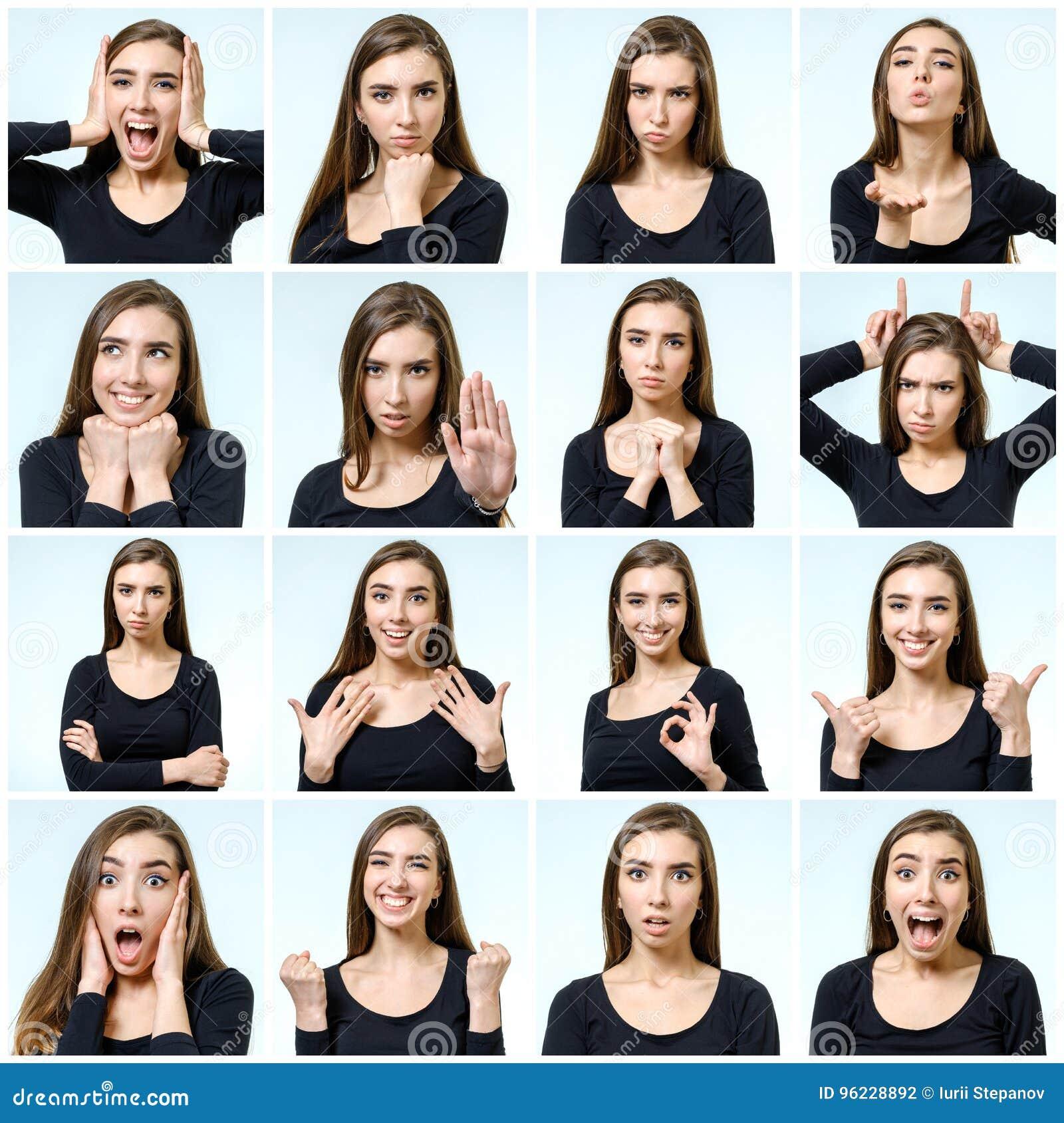 Collage de la muchacha hermosa con diversas expresiones faciales