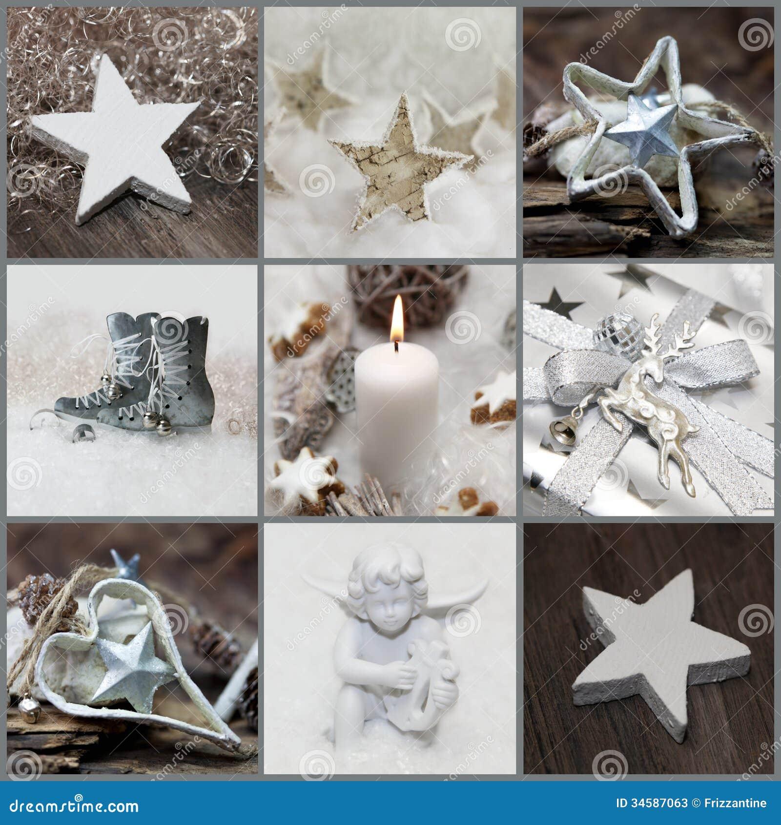 collage de la navidad con blanco plata y la decoracin gris fotos de archivo