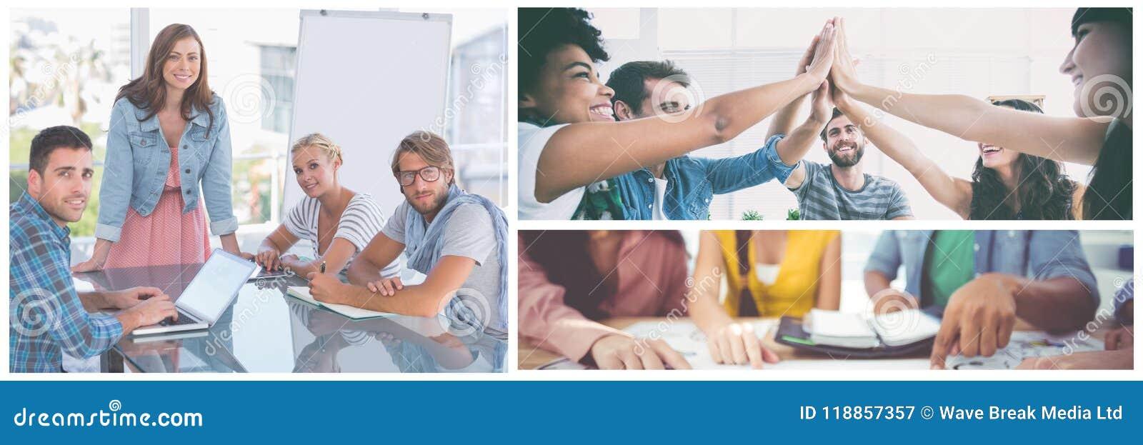 Collage de la reunión del trabajo en equipo
