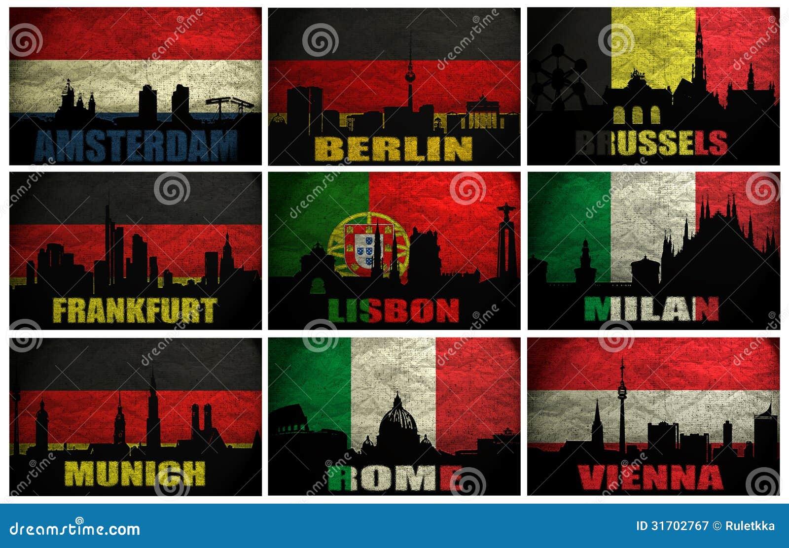 Collage de las ciudades famosas de Europa occidental