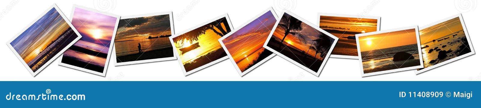 Collage de las fotos de la puesta del sol