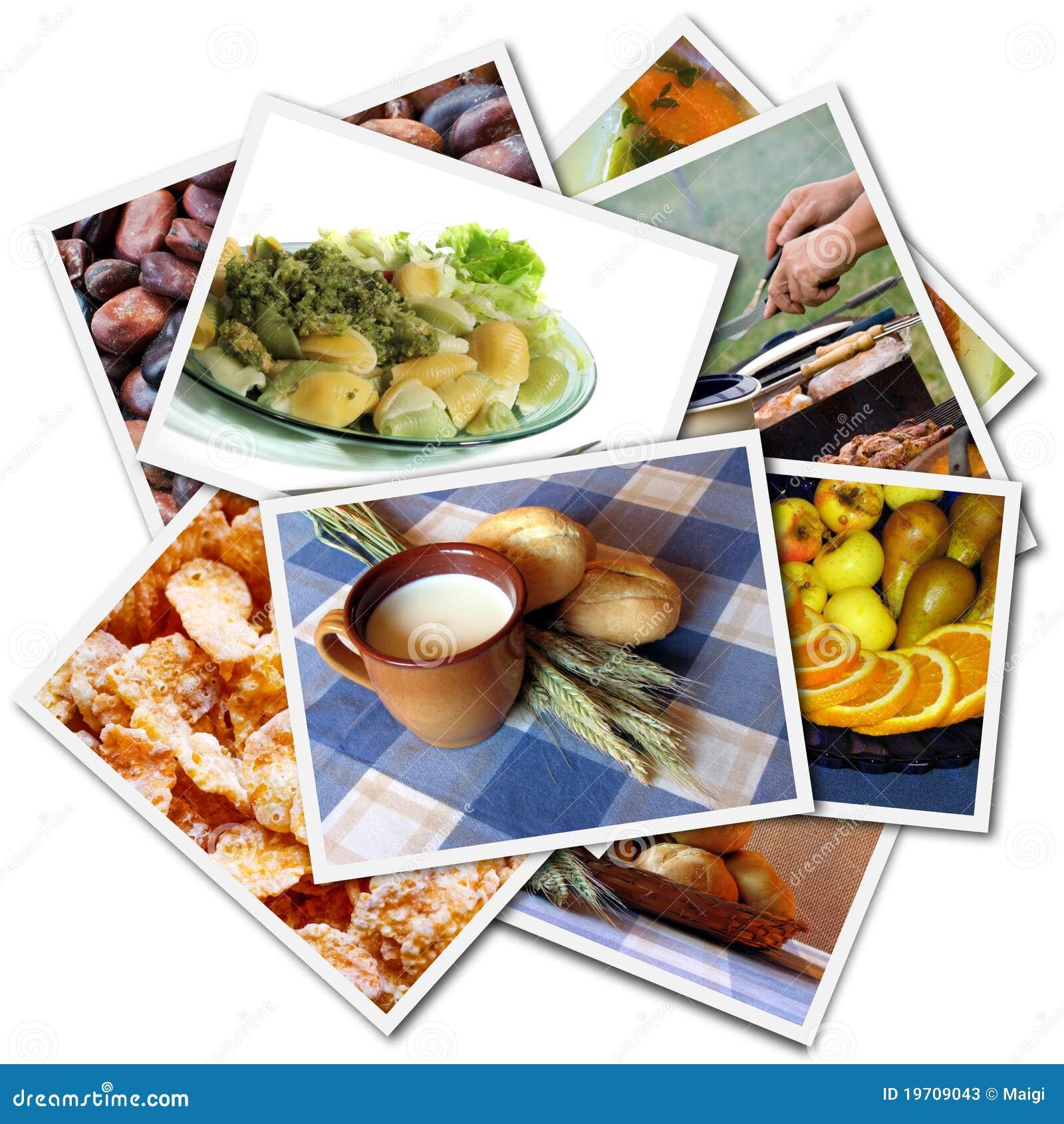 Collage de las fotos del alimento