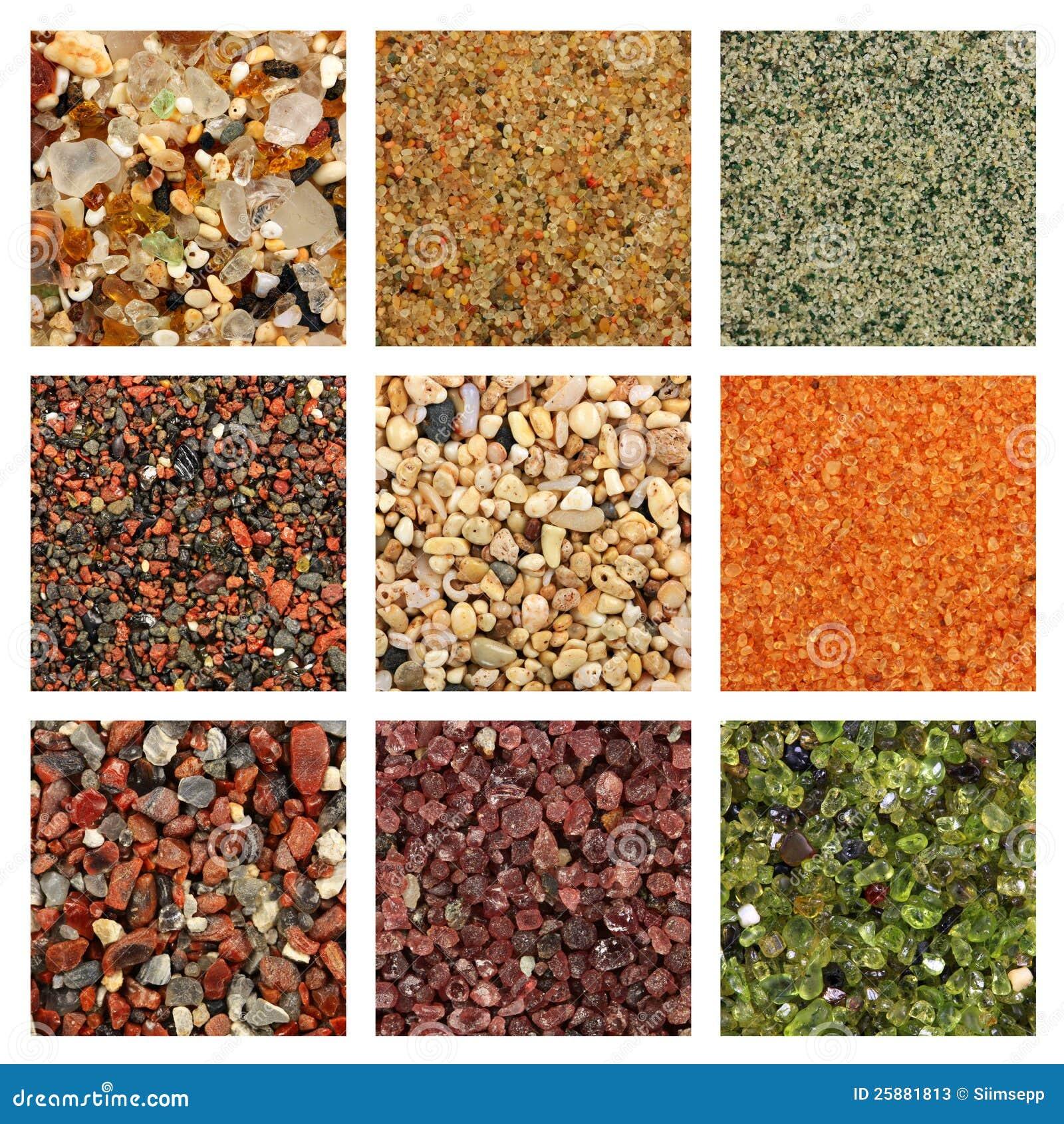 Collage de las muestras coloridas de la arena fotos de for Muestras color arena