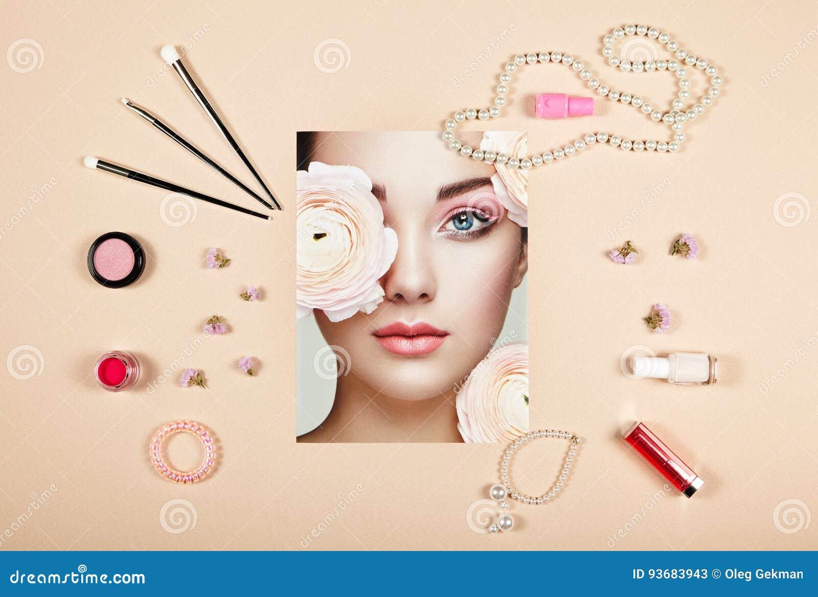 Collage de los accesorios de la señora de la moda