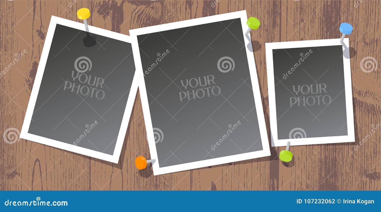 Collage de los bastidores de la foto, ejemplo del vector del libro de recuerdos, fondo