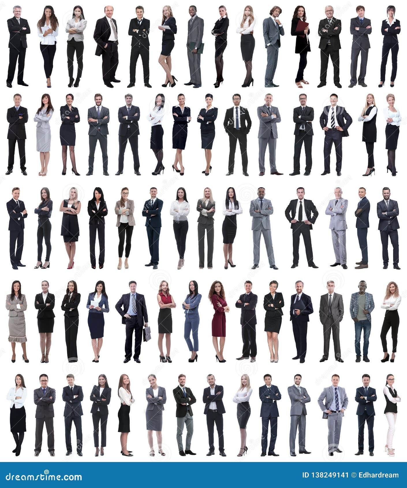 Collage de los hombres de negocios jovenes que se colocan en fila