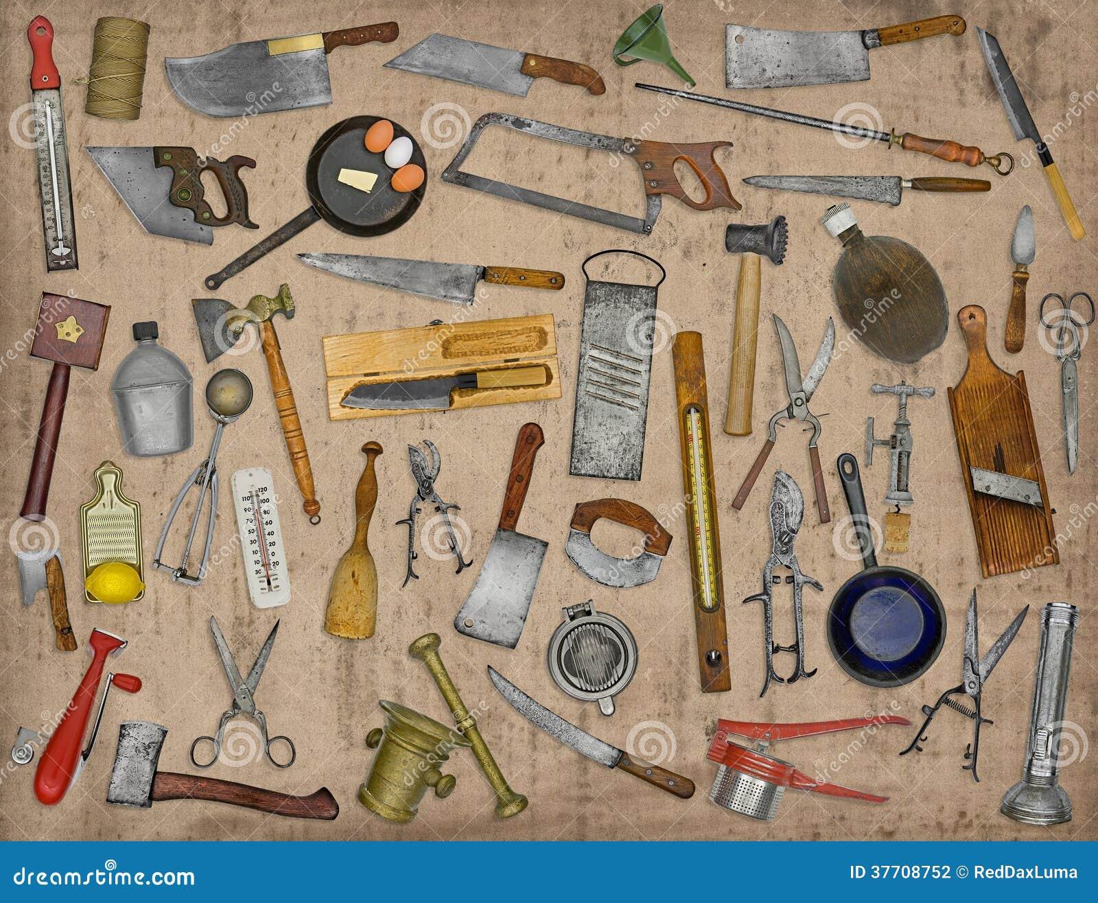 Collage de los utensilios de la cocina del vintage for Utensilios de cocina vintage