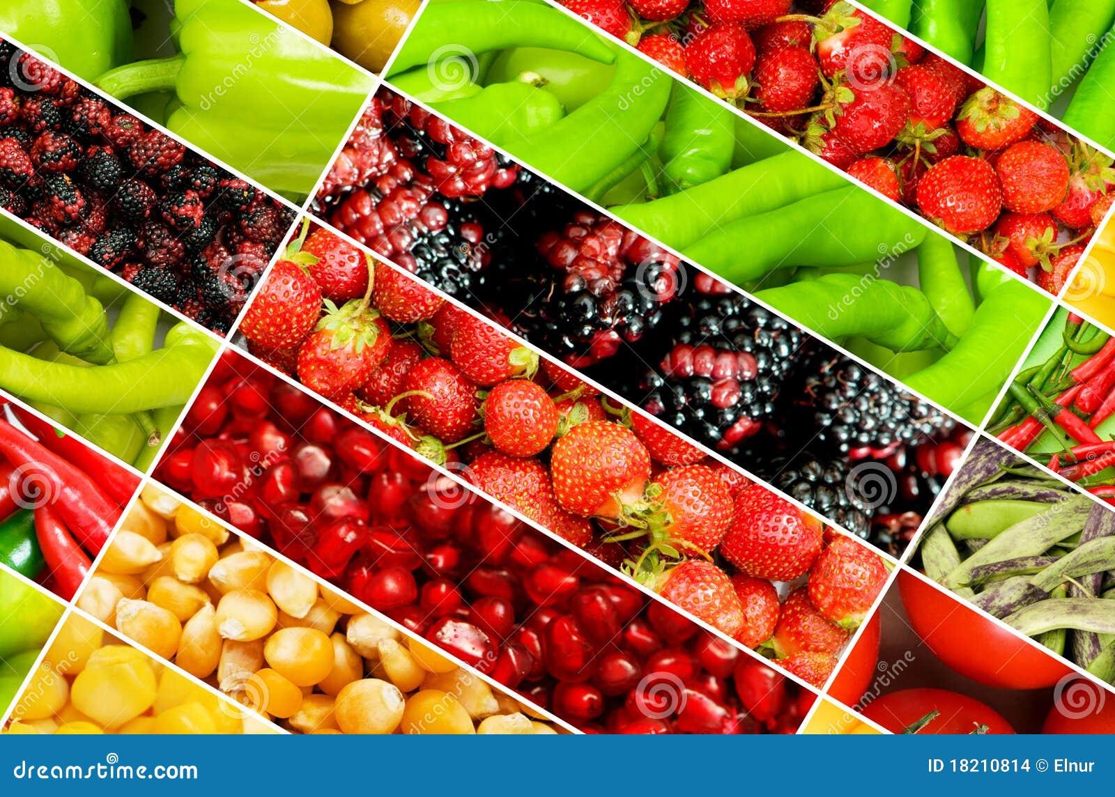 collage de muchas frutas y verdura imagenes de archivo