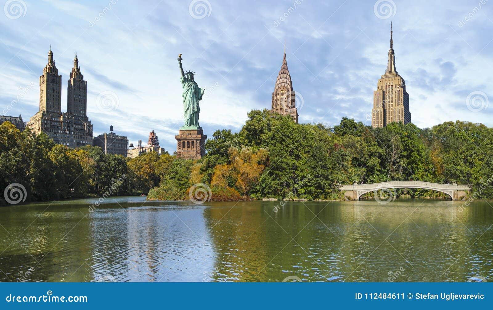 Collage de New York City de Central Park et de points de repère de NYC