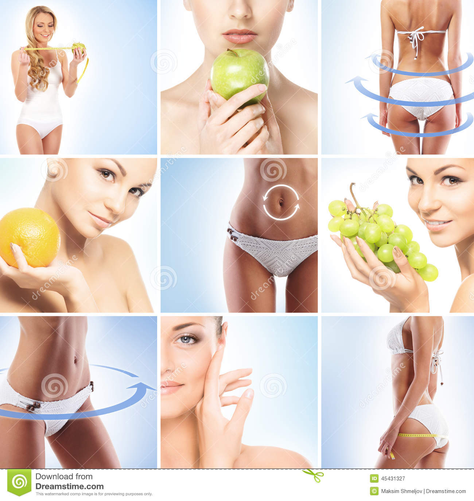 Collage De Partes Del Cuerpo Femeninas Y De Frutas Frescas Imagen de ...