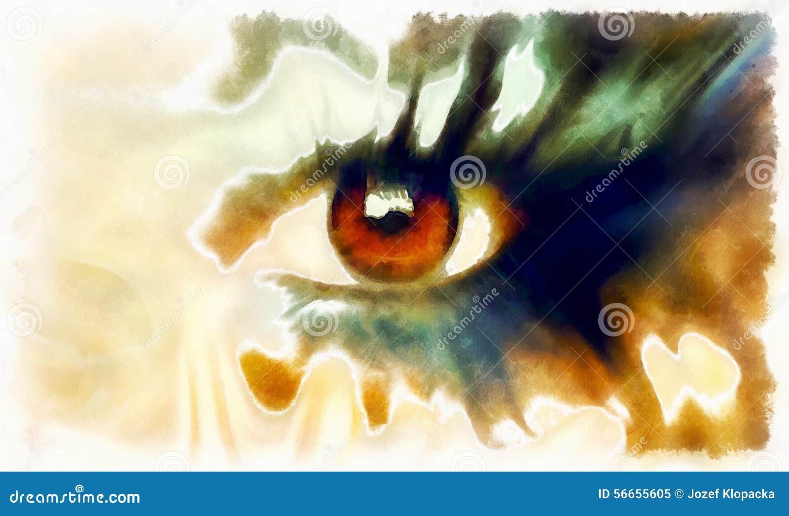 Peinture Dans L Oeil collage de peinture d'oeil, maquillage abstrait de couleur