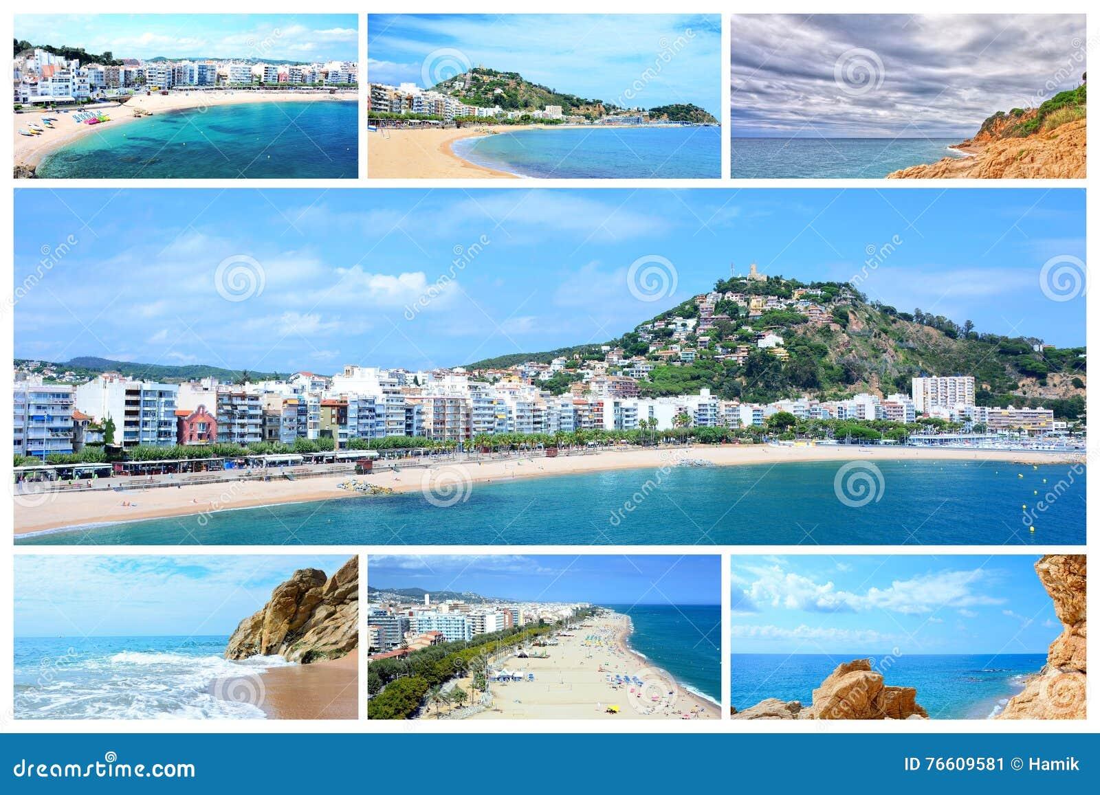 Carte Espagne Costa Brava Blanes.Collage De Photo De Costa Brava Image Stock Image Du