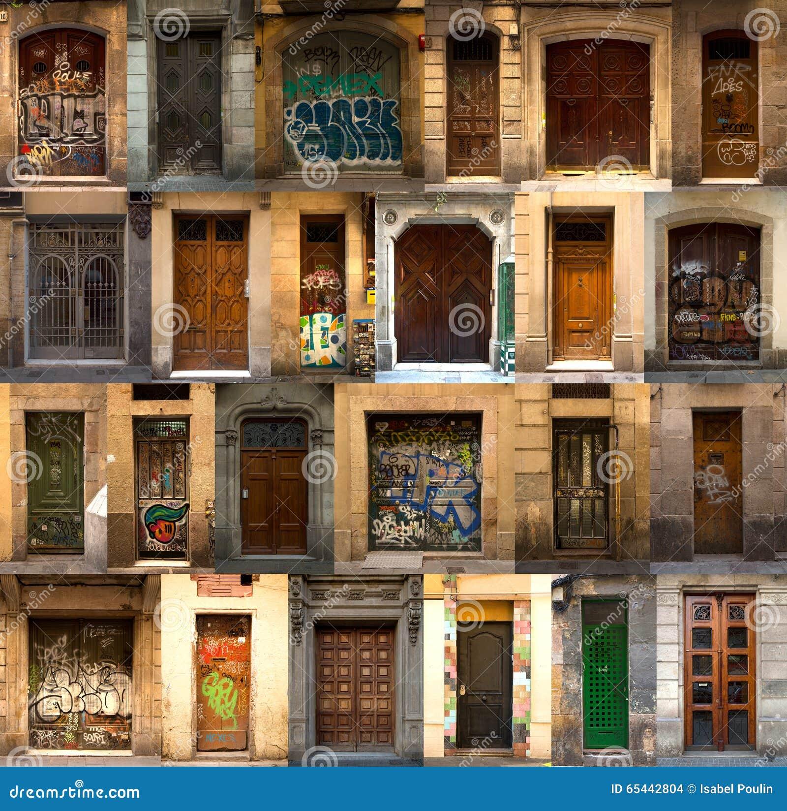 Collage de puertas de madera espa olas foto de archivo - Puertas madera barcelona ...