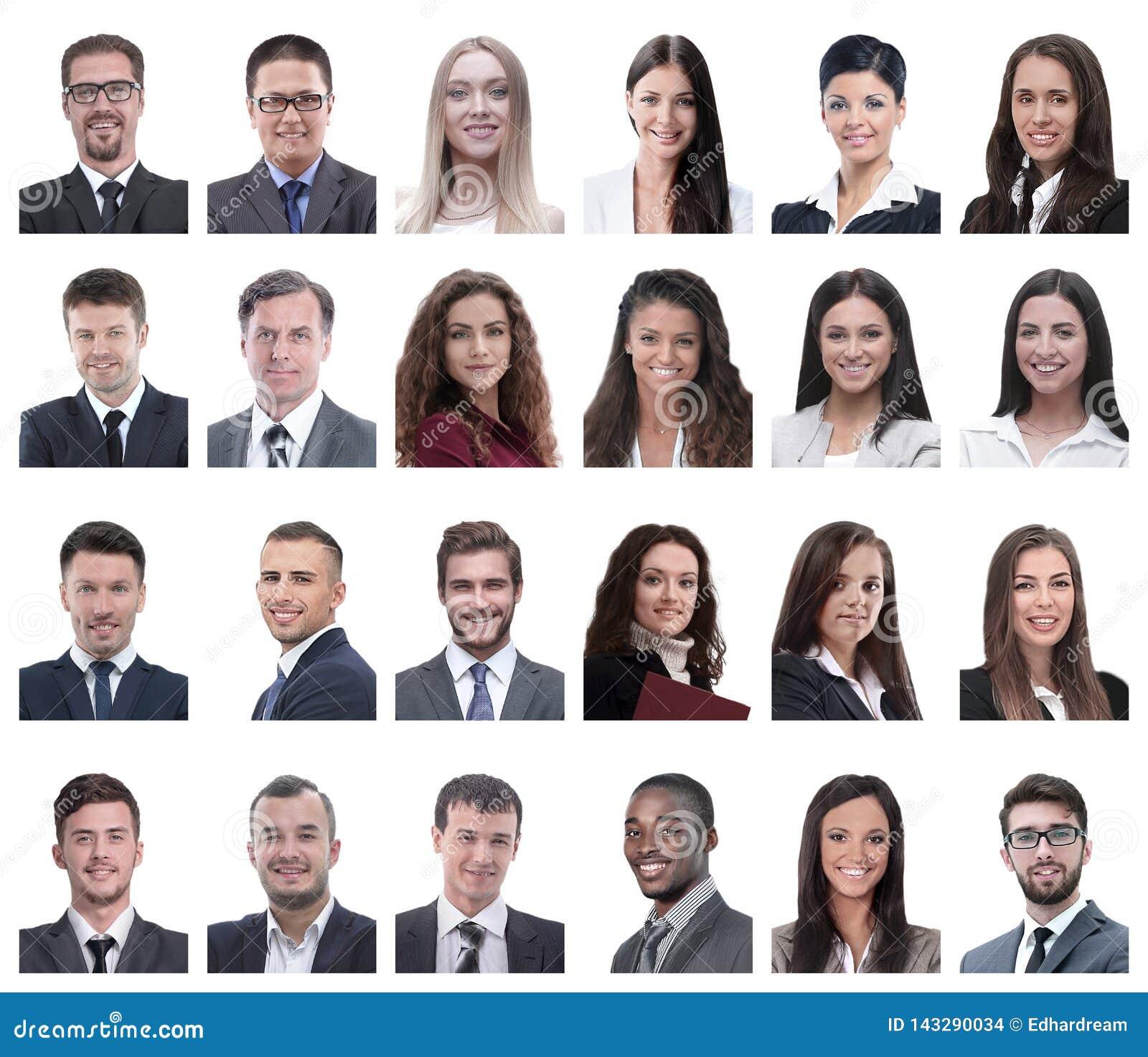 Collage de retratos de los hombres de negocios aislados en blanco