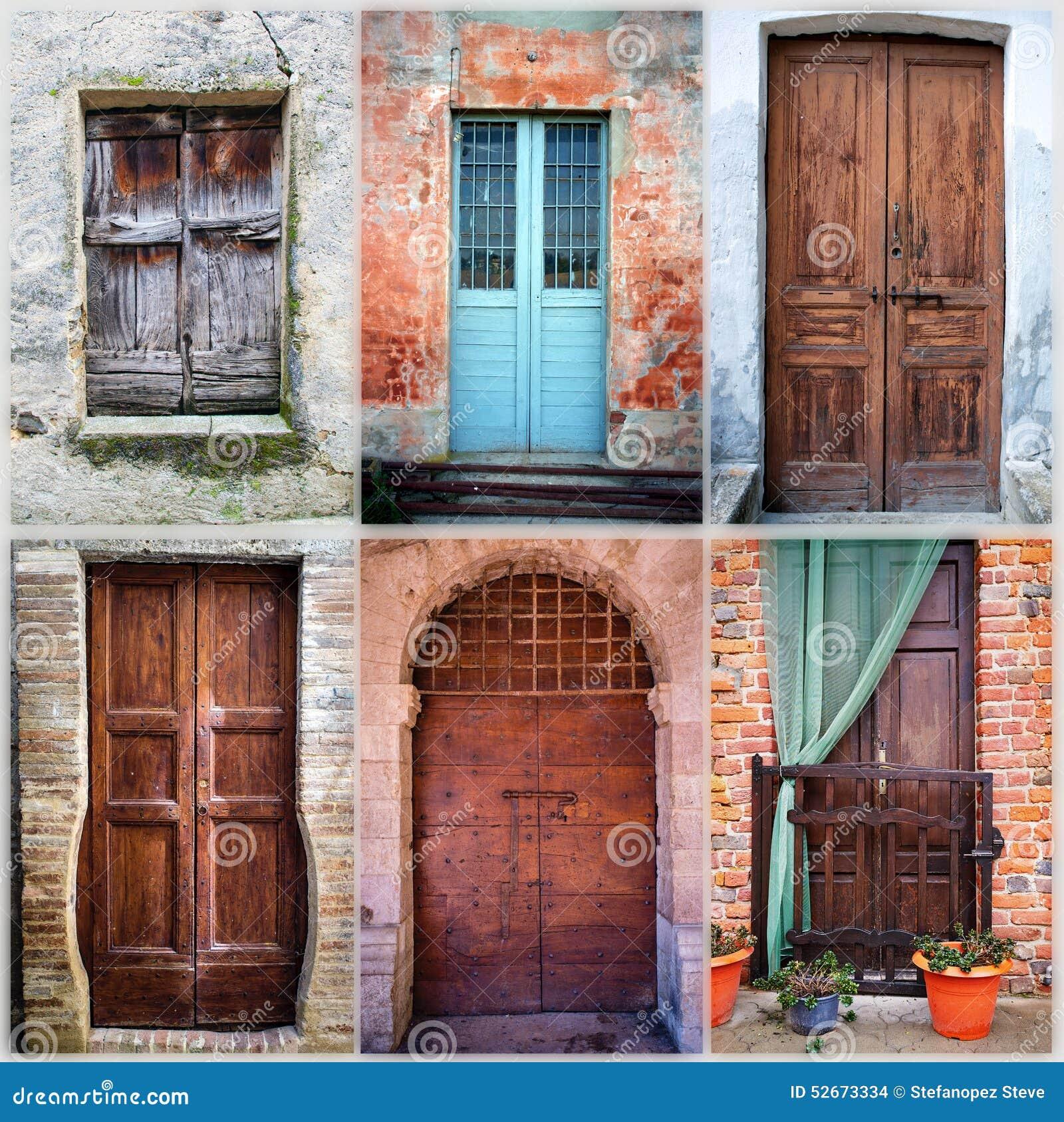 Collage de seis puertas de madera viejas imagen del color for Imagenes de puertas viejas