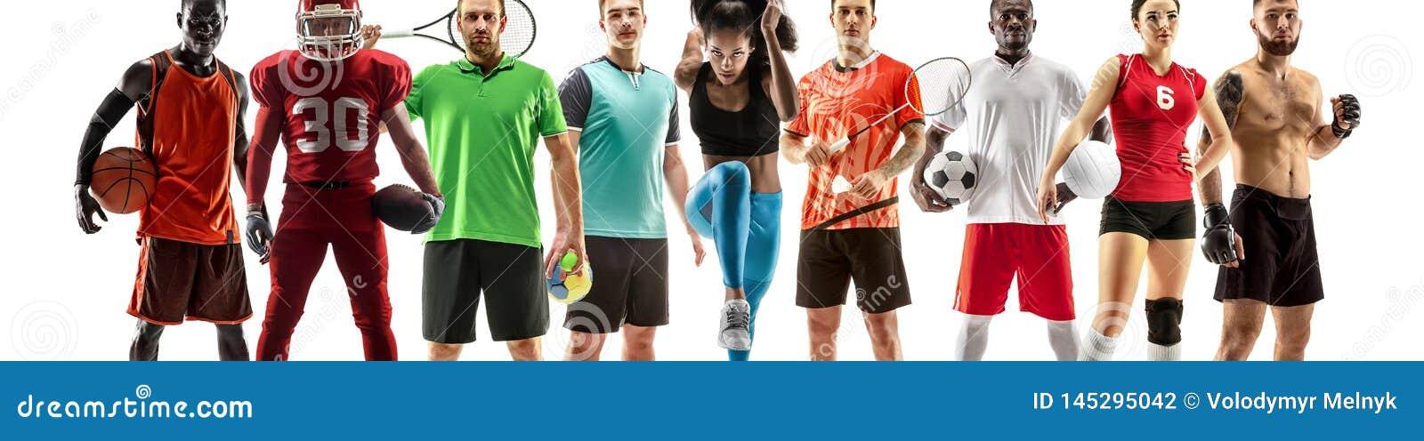 Collage de sport au sujet des athlètes féminins ou des joueurs Le tennis, fonctionnement, badminton, volleyball